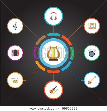 Flat Icons Knob, Tambourine, Banjo And Other Vector Elements