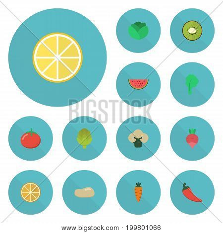 Flat Icons Love Apple, Root, Turnip And Other Vector Elements