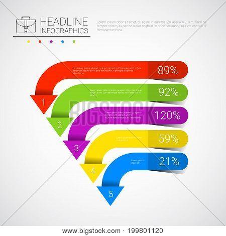 Headline Infographic Business Data Arrow Collection Presentation Copy Space Vector Illustration