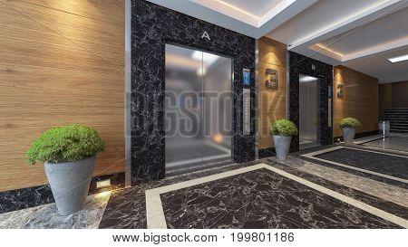 modern metal elevator design idea 3d rendering.