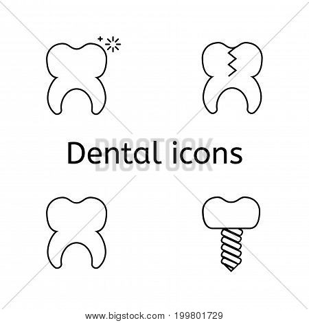 Tooth icons set. Simple dentistry pictograms on a white background.