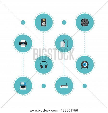 Flat Icons Cooler, Laptop, Web Cam And Other Vector Elements