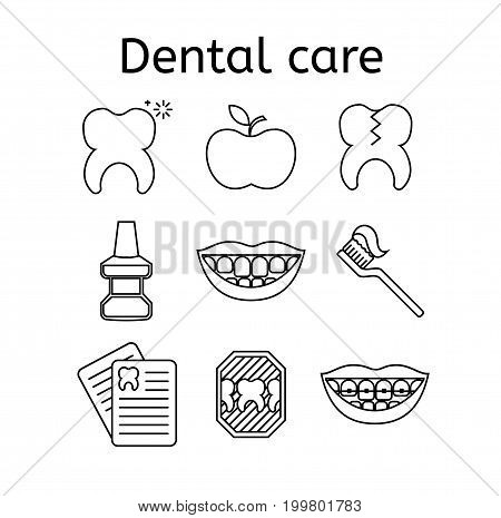 Set of dental care outline vector icons. High quality black outline teeth symbols for web site design and mobile apps. Simple dentistry pictograms on a white background.