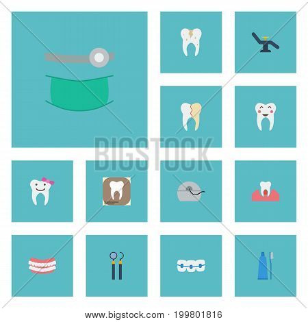 Flat Icons Treatment, Furniture, Equipment And Other Vector Elements