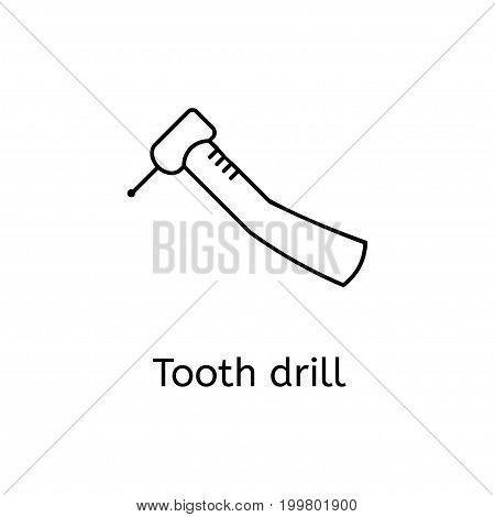 Dental drill vector line icon isolated on white background. Line icon for infographic, website or app. Outline symbol teeth to design a website and mobile applications. Simple dental icons on white background.