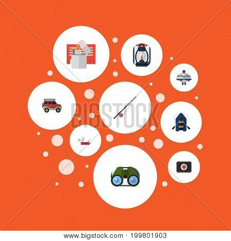 Flat Icons Kerosene, Fishing, Penknife And Other Vector Elements