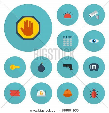 Flat Icons Keypad, Virus, Safe And Other Vector Elements