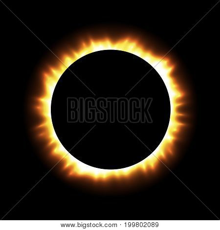 Total Eclipse of the Sun with Corona on Transparent Background. Digital Artwork Creative Graphic Design. Vector