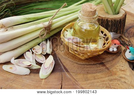 Lemongrass essential oil with fresh slice lemongrass