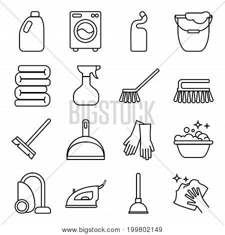 Vector set of isolated cleaning icon. Vector elements associated with cleaning for your design project.