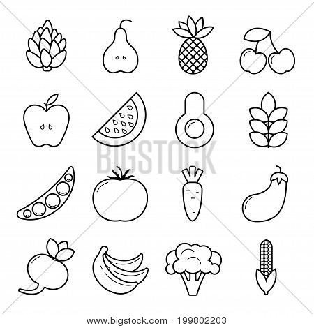 Vegan icon set. Outline vegetables and fruits isolated on white background.