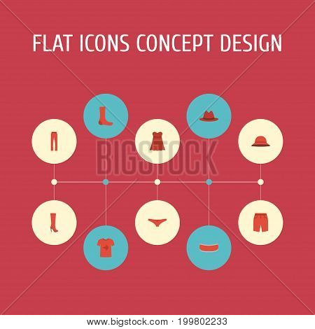 Flat Icons Boots, Evening Dress, Shorts And Other Vector Elements