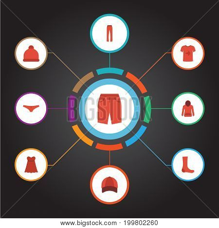 Flat Icons Sweatshirt, Hosiery, Evening Dress And Other Vector Elements