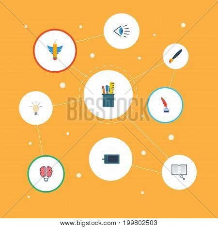 Flat Icons Eye, Wings, Science And Other Vector Elements