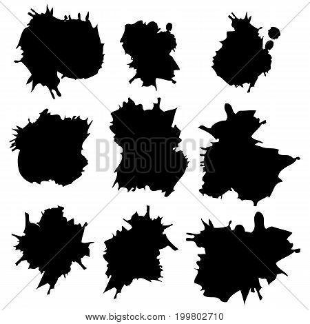 Vector set of ink splashes, ink blots. Splatter collection.