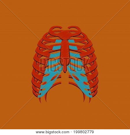 flat shading style icon chest thorax anatomical