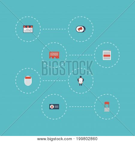 Flat Icons Letter, Man With Banner, Id And Other Vector Elements