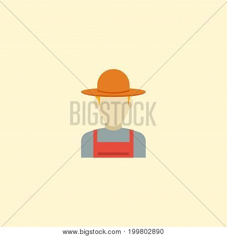 Flat Icon Farmer Element. Vector Illustration Of Flat Icon Grower Isolated On Clean Background