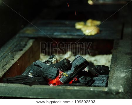 Close-up of grilling process. Glowing firewood next to three juicy pieces of grilled chicken. Black burning  logs on a blurred background. Outdoors, nature, cooking concept. Copy space.
