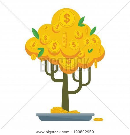 Money tree with gold coins and paper dollars. Symbol of success, wealth and power. Finance and banks, savings and investments. Flat vector cartoon illustration. Objects isolated on a white background.