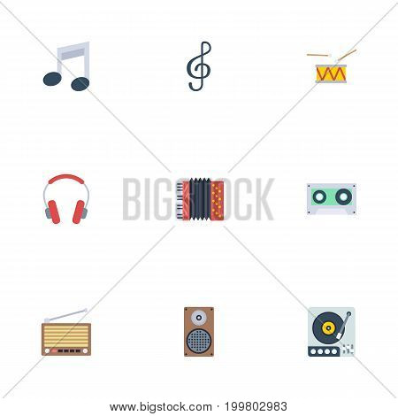 Flat Icons Harmonica, Radio, Earphone And Other Vector Elements