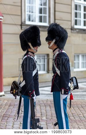 Copenhagen, Denmark - July 08, 2017: Two Royal Guards at the change  of guard ceremony at Amalienborg Palace