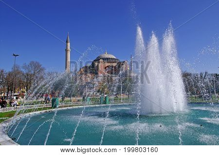 ISTANBUL, TYRKEY - MARCH 09, 2008: View of Saint Sophia and the fountain, Istanbul, Turkey