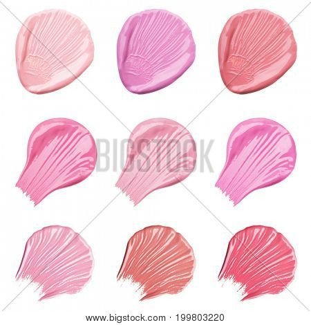 Collection of smears of lipstick. Isolated on white background