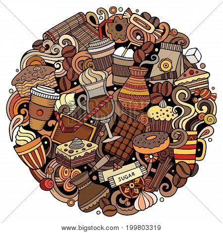 Cartoon vector doodles Coffe shop illustration. Colorful, detailed, with lots of objects background. All objects separate. Bright colors Cafe funny round picture