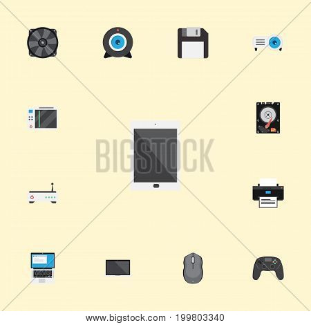Flat Icons Monitor, Web Cam, Laptop And Other Vector Elements