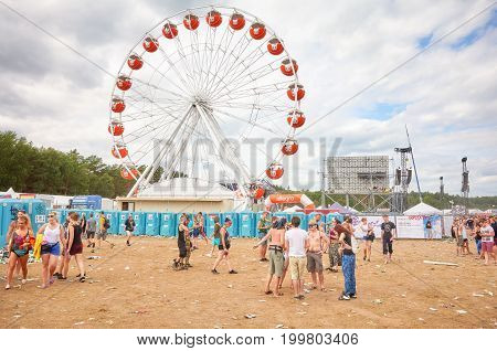 Kostrzyn Poland - August 05 2017: Ferris wheel at the 23rd Woodstock Festival Poland one of the biggest open air festivals in the world.