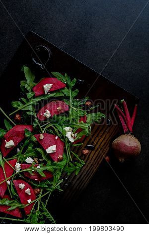 Beetroot Salad, With Goat Cheese, Hazelnut And Rocket Leaves..