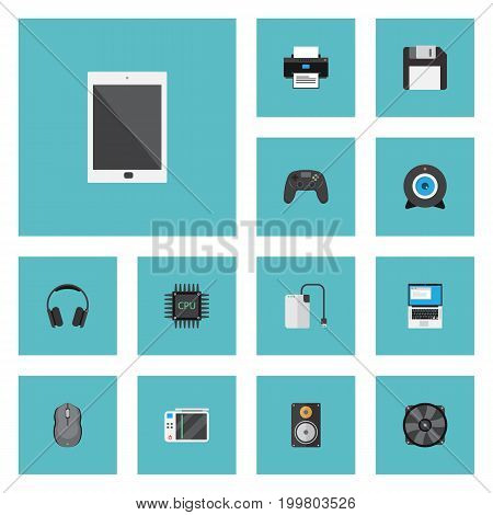 Flat Icons Cooler, Computer Mouse, Palmtop And Other Vector Elements