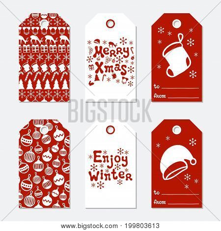 Christmas and New Year gift tags. Cards xmas set with hand drawing elements. Collection of holiday paper label in red and white. Seasonal badge sale design. Texture. Print. Vector illustration
