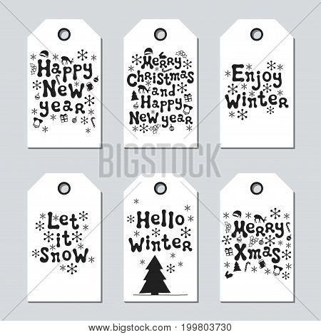 Christmas and New Year gift tags. Cards xmas set. Hand drawn elements. Collection of holiday paper label in black and white. Seasonal badge sale design. Texture. Print. Vector illustration. Lettering