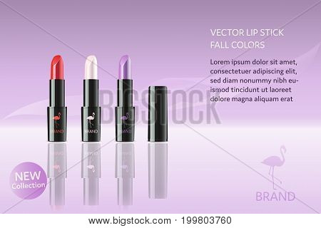 Brand. Lip stick in different autumn colors with flamingo, logo and text.
