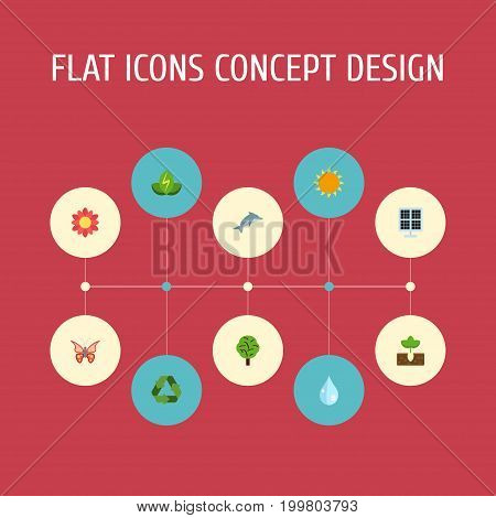 Flat Icons Sun Power, Eco Energy, Beauty Insect And Other Vector Elements