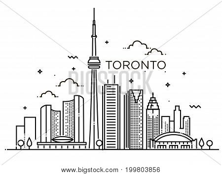 Minimal Toronto City Linear Skyline. Thin style