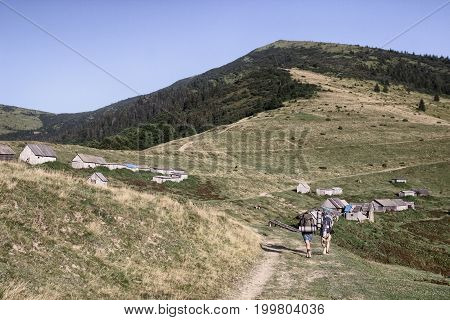 Tourists are walking in the mountians day