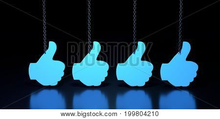 Hand showing symbol Like hanging from a chain. Making thumb up gesture. Graphic for web poster. 3D rendering