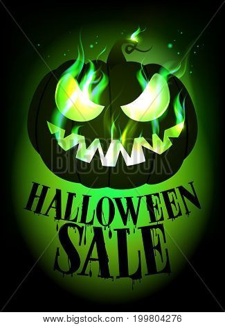 Halloween sale design with scary pumpkin, raster version
