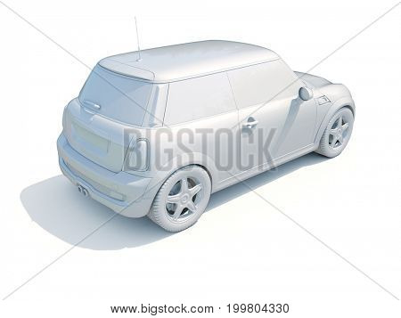 3d Render: White Toy Car