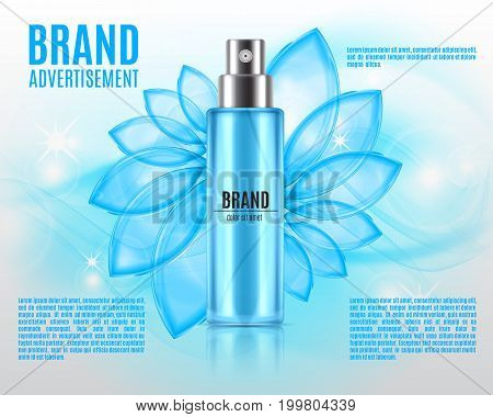 Cosmetic ads template. Spray bottle on a glitter background. 3D illustration. Design for ads or magazine. EPS10 vector.
