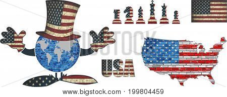 USA Flag Elements Vector Collection - Illustration,   Text with USA flag, US national flag in mosaic