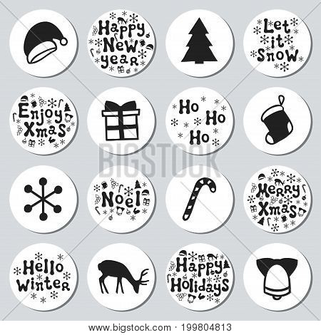 Christmas New Year gift round stickers. Labels xmas set. Hand drawn decorative element. Collection of holiday christmas stickers in black white. Texture. Vector illustration. Lettering, calligraphy