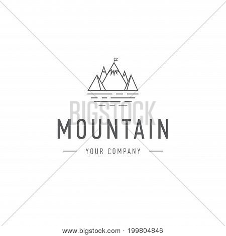 Mountain vector logo template travel and adventure business. Outdoor explorer badge. Illustration of outdoor explorer label