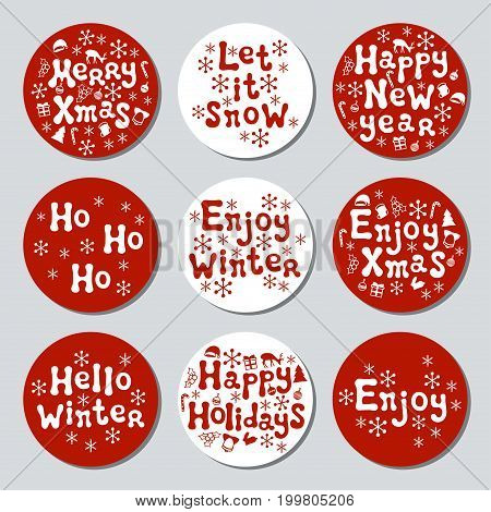 Christmas New Year gift round stickers. Labels xmas set. Hand drawn decorative element. Collection of holiday christmas stickers in red white. Texture. Vector illustration. Lettering, calligraphy