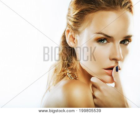 Cosmetics, makeup and beauty concept: young woman with bright make up, close up