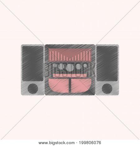 flat shading style icon music Center electronics