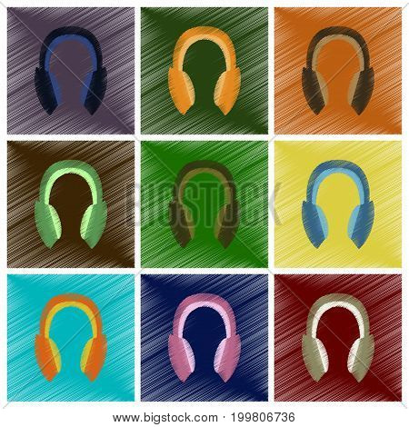 assembly flat shading style icons headphones stereo